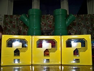 For a Mario Brothers party, PVC pipes spray-painted green and glass bricks.: Mario Party, Mario Stuff, Glasses Blocks, Pipes Sprays, Brother Party, Party Idea, Glasses Bricks, Mario Brother, Boyish Party