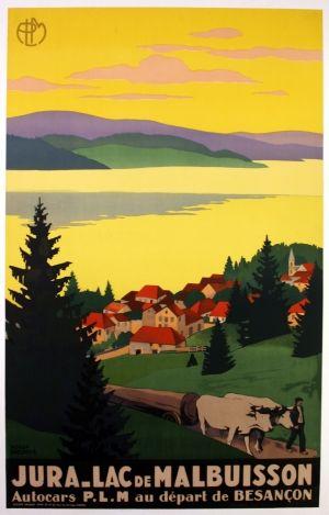 Jura Lac de Malbuisson, 1930s - original vintage poster by Roger Broders listed on AntikBar.co.uk