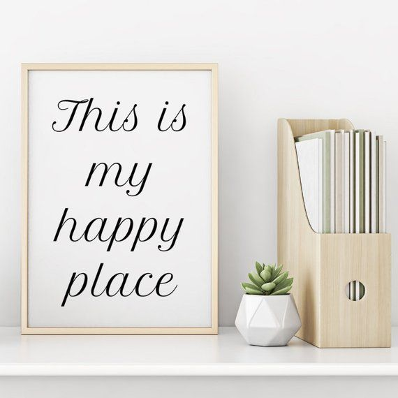 This Is My Happy Place Print Wall Art Office Decor Home Decor Poster My Happy Place Happy Places Staircase Wall Decor