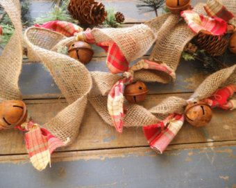 Burlap Garland -Christmas Garland - Rusty Bells ~ Rustic Christmas - Christmas Tree Garland - Plaid - 9 Feet - Rag Garland - Holiday Decor