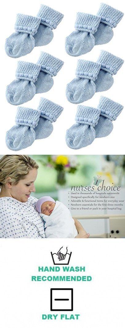 Blaue Neugeborenen-Babysocken von Nurses Choice – Enthält 6 Paar Baumwollsocken …   – Newborn Essentials