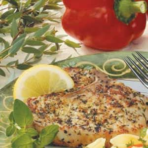 Healthy Eating - Herbed Pork Chops - One serving equals 184 calories, 8 g fat (2 g saturated fat), 70 mg cholesterol, 367 mg sodium, 2 g carbohydrate, 1 g fiber, 25 g protein.