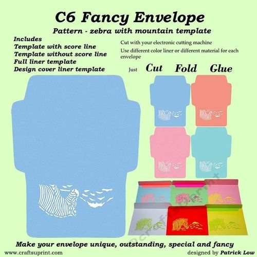 C6 Fancy Envelope - Pattern - Zebra with Mountain Template by Patrick Low <b>C6 Fancy Envelope &ndash Pattern &ndash Zebra with Mountain template cutting file.<b><br><br>Make your correspondence stand out with these fancy pattern envelopes.<br><br>This is a C6 (size 114mm x 162mm) fancy envelope template cutting file in <b>StudioDXFSVGSCUT<b> format.<br><br>