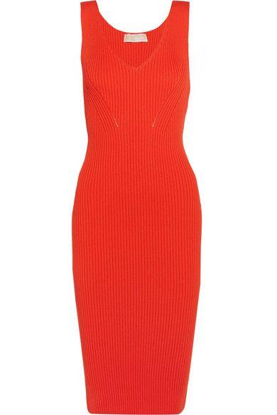 MICHAEL Michael Kors - Ribbed Stretch-knit Dress - Bright orange - x small