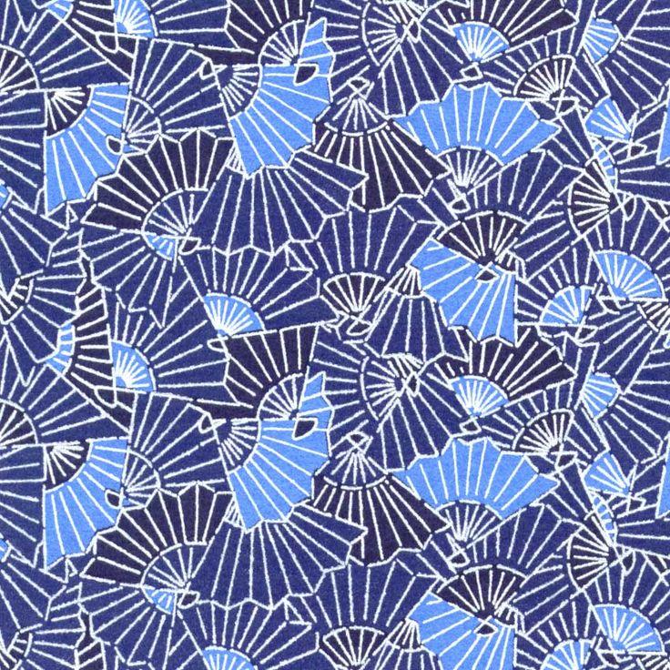 Blue fans; #Japanese #textiles #patterns