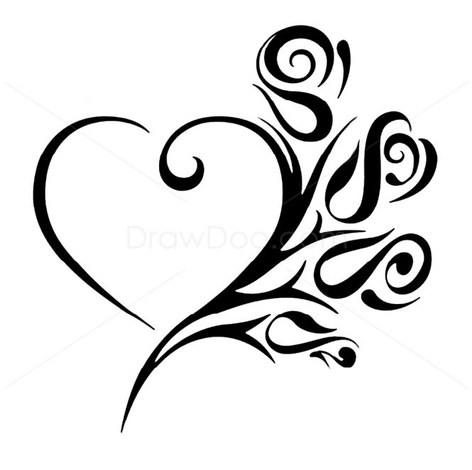 Tribal Heart With Flowers Tattoo Stencil