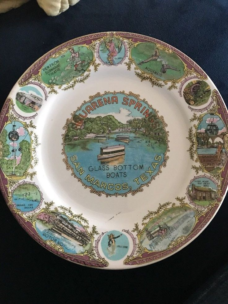 Vintage Aquarena Springs San Marcos Texas Souvenir Plate in Collectibles, Souvenirs & Travel Memorabilia, United States, Texas | eBay