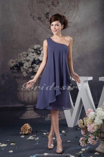 A-line One Shoulder Short/Mini Sleeveless Chiffon Dress - $72.99