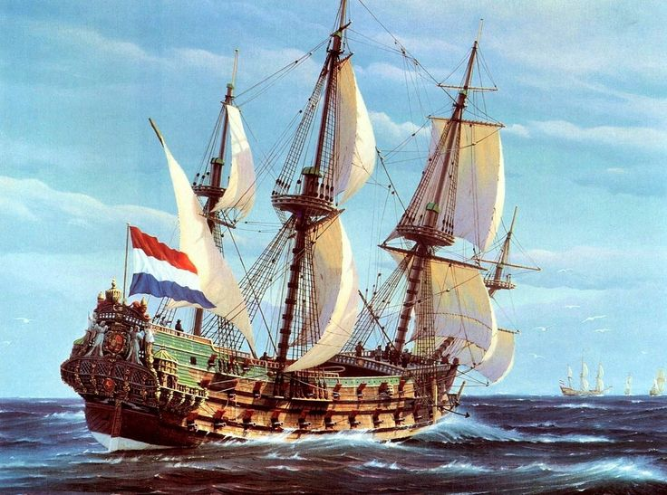 The Dutch 800 ton Zeven Provincien, circa 1665, was one of the most formidable warships of her era. During her successful 28 year career the flagship of deRuyter & Tromp fought Spanish, English, French warships and Mediterranean pirates.