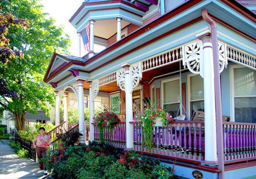 painted ladies ~ Love the porches and the colors are great!