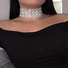 Dam Chokerhalsband Smycken Enkel slinga Akrylfiber Mode Personlig Euramerikansk Minimalistisk Stil Vit Smycken FörParty Speciellt