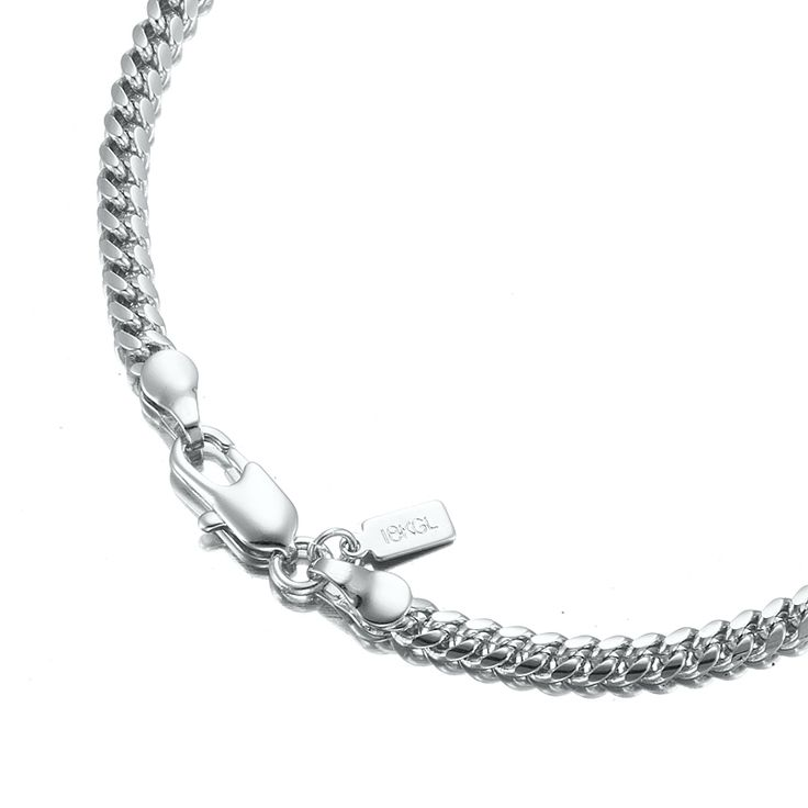 White Gold Layered Curb Chain Bracelet with Lobster Clasp | Allure Gold