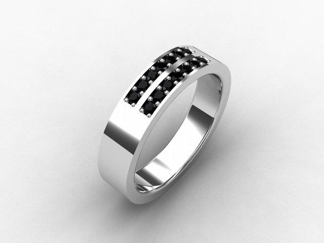 Trending Black Diamond ring mens wedding band White Gold mitment ring black diamond