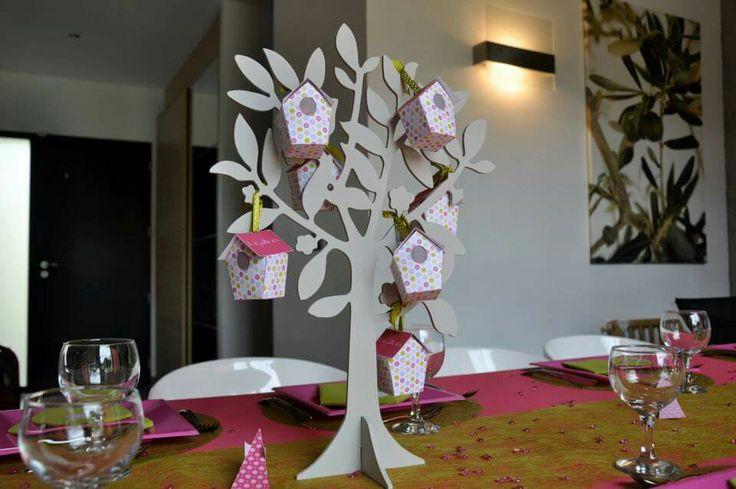 D coration de table de bapt me th me nichoir oiseau arbre for Decoration porte hibou
