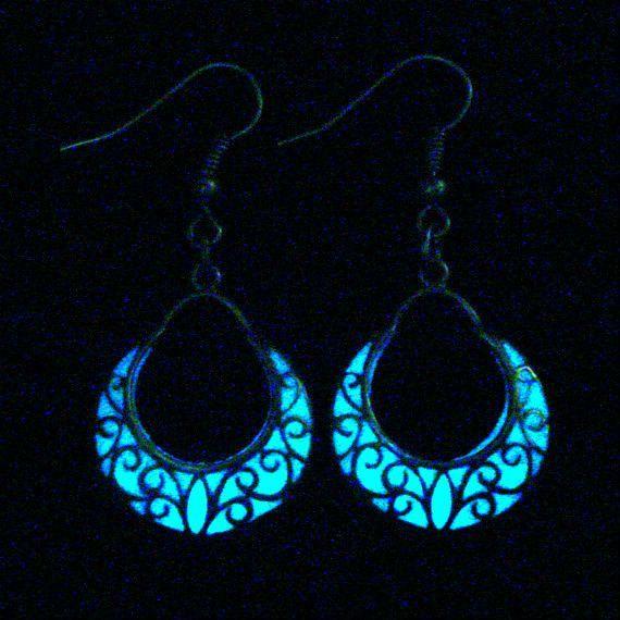 Crescent Moon Earrings Glow In The Dark Crescent by GLOWINGJEWELRY