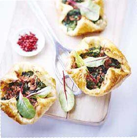 Feuilletés aux épinards et rillettes de canard #recette #aperitif