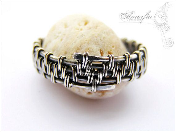 Sterling silver wire wrapped men's ring size 13 by amorfia on Etsy