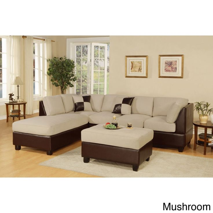 Poundex Montpellier Dual-tone Sectional Sofa Set with Matching Ottoman (Mashroom), Beige Off-White (Faux Leather)
