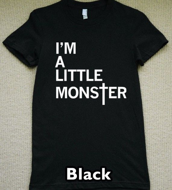 Brand New American Apparel BLACK Womens T-Shirt, Choose Your Size (S, M, L, XL)    ♥Please add a note with payment to choose your size.♥    This is a cool t-shirt for all you proud Little Monsters out there. Makes a great conversation starter at the Lady Gaga concert! This is a must have for anyone that loves Lady Gaga. This is an original design and you wont see it sold anywhere else. Perfect for wearing to The Monster Ball Tour! This is not a cheap iron-on graphic and is hand screenprinted…