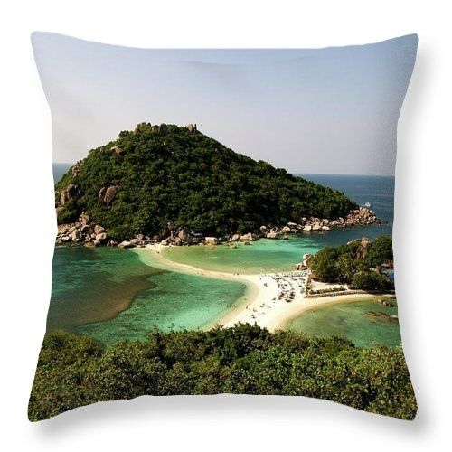 "Island In №Thailand #Throw Pillow by Tamara Sushko. Our throw pillows are made from 100% spun polyester poplin fabric and add a stylish statement to any room. Pillows are available in sizes from 14"" x 14"" up to 26"" x 26"". Each pillow is printed on both sides (same image) and includes a concealed zipper and removable insert (if selected) for easy cleaning"