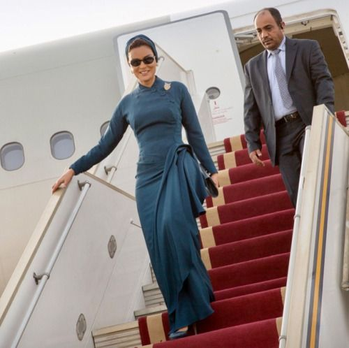 Tall and stylish Sheikha Mozah arrived in Khartoum on Saturday...
