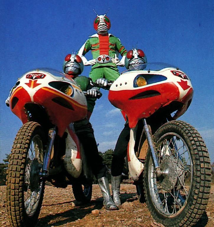 KAMEN RIDER V3 (center in an early costume concept) with Riders 1 and 2 in an early promotional still for the TV series.