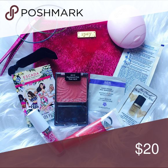 The Monroe Makeup Set Includes: a pink faux fur wristlet/bag, 2 Bangles, black hair tie, Escada travel size Perfume, Ren beauty shot face cream, eos cherry blossom hand lotion, pink maybelline 14 hour lipstick swatched, boots nose strip, wetslicks watermelon lip gloss swatched, too faced born this way foundation in sand & wet n wild pink blush swatched and includes brand new brush! All brand new.  • No Trades. Price is firm. 15% off of bundles of 3 or more • Sephora Makeup