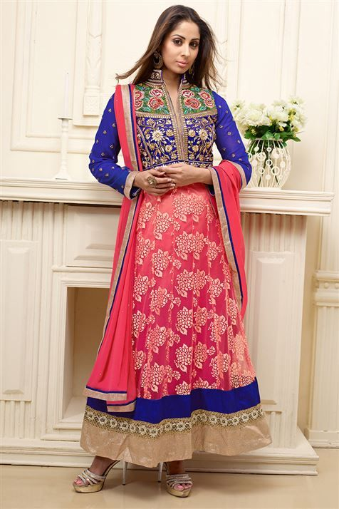 Apealing Sangeeta Ghosh Blue,Oragne Georgette Anarkali Salwar Suit