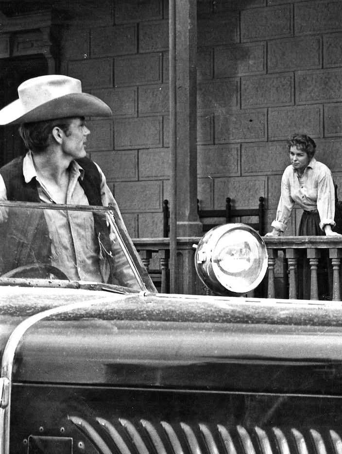 James Dean and Mercedes McCambridge on the set of Giant, 1955.