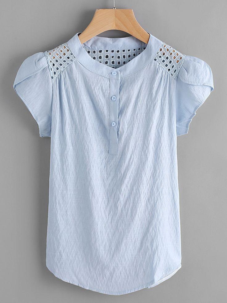 Blusa de bordado con panel -Spanish SheIn(Sheinside)
