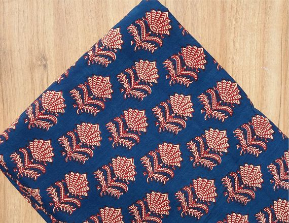 5 yards  Blue Indigo print Fabric,Indian  Fabric,Dabu Print Fabric,Cotton Printed Fabric,Printed Fabric,Block Print Fabric Hand made #070