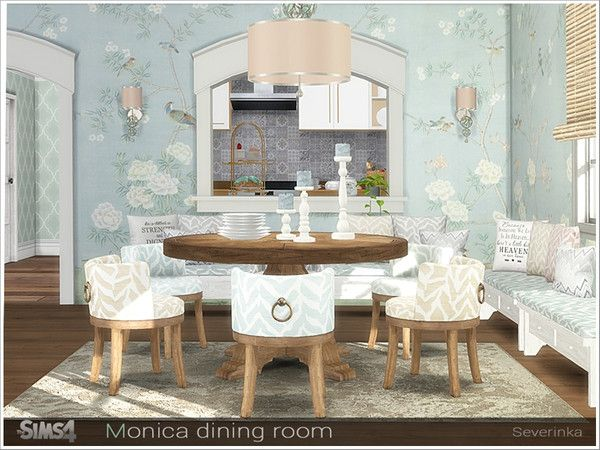 Monica Dining Room By Severinka For The Sims 4 Spring4sims Leather Dining Room Chairs Sims House Dining Room Decor