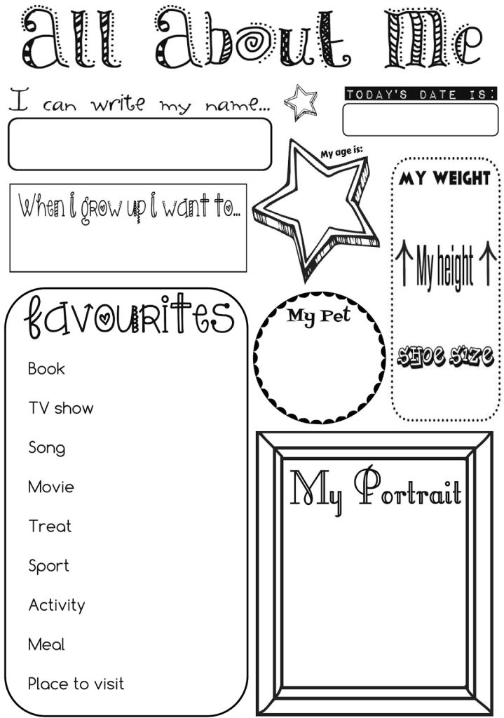 All About Me Page 1/2 I've been looking for a good 'All About Me' activity sheet for my daughter to fill in every now and then to file away for memories. After searching the internet high and low I thought I may as well just create my own! Please feel free to download the 2 pages and use them for your own children! By Ernie and Bird