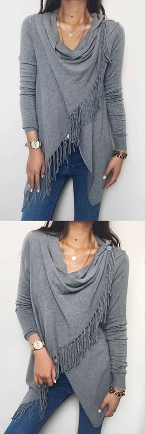 Only $29.99! Chicnico Gray Single Button Tassel Asymmetrical Hem Shawl. Fall fashion outfit you much have. 2017 new collection warm cardigan sweater fashion trend. fashion tips fashion ideas