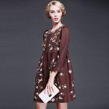 nieuwe herfst winter 2015 vrouwen etnische stijl vintage bloem borduurwerk groot formaat slanke lange toevallige maxi jurk katoen plus size(China (Mainland))