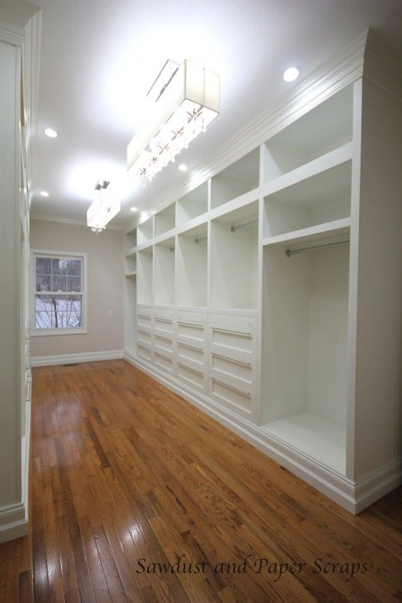 I stumbled upon the blog Sawdust & Paperscraps and saw this master closet!! (You have to go over and check out her blog!!)