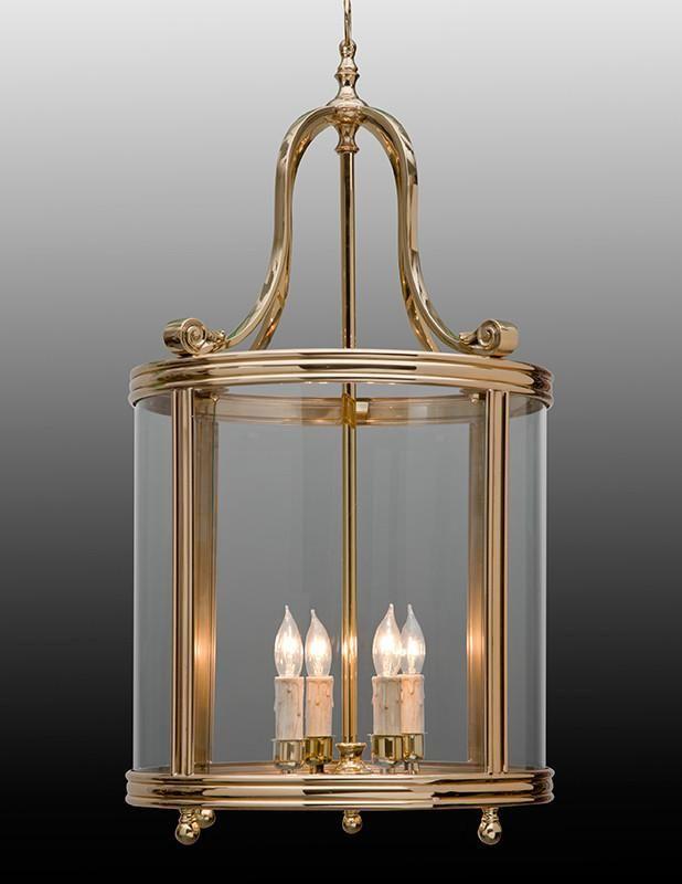 Bell Shaped Top Round Lantern In Shining Brass Ll 9b Lanterns