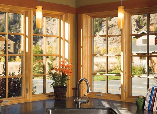 Andersen 400 Series Woodwright Tilt Wash Double Hung Windows With Modified Colonial Grilles Windows Exterior Sunroom Windows House Windows