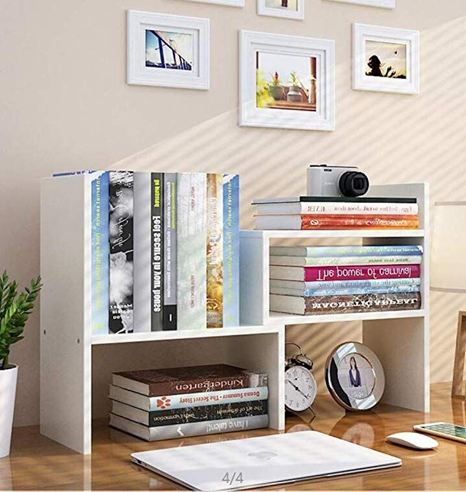 Amazon Com Expandable Wood Desktop Bookshelf Desktop Organizer Office Storage Rack Wood Display Shelf Dorm Room Items Bookshelf Organization Bookshelf Desk