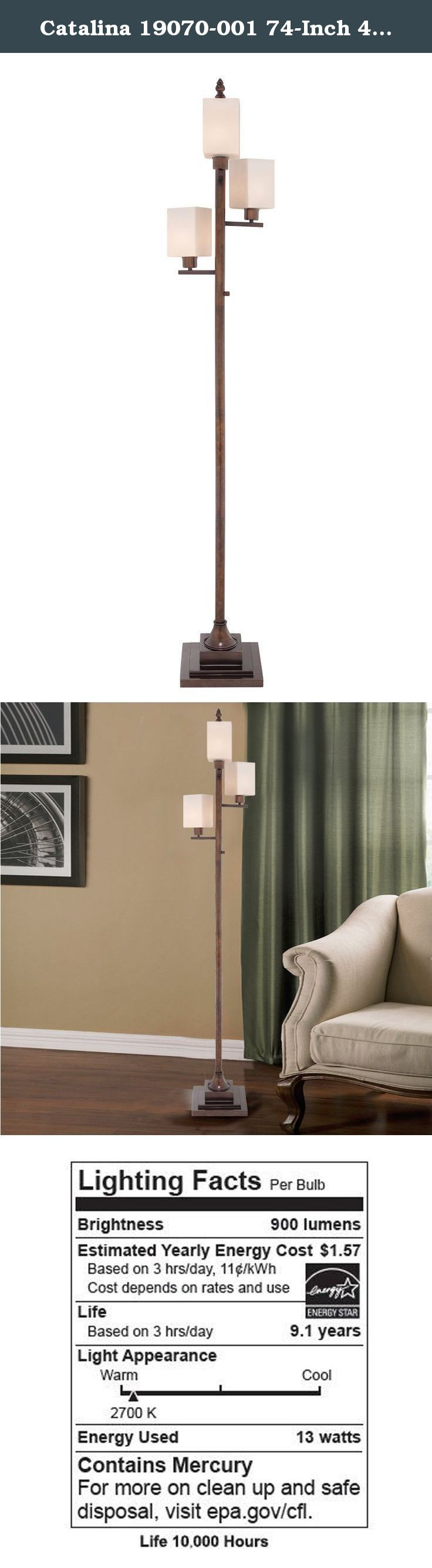 Catalina 19070-001 74-Inch 4-Light Transitional Metal Floor Lamp with Square White Glass Shades and Bulb. The Catalina 19070-001 Floor Lamp offers a stylish transitional design. The metal floor lamp features a stylish base design with an oil-rubbed bronze finish and white opal glass shade. This lamp is rated for 120-volts and uses (3) 60-watt incandescent bulbs or (3) 13-watt E26 CFL spiral bulbs. (3) 13-watt E26 CFL spiral bulbs are included. The light source is soft and the illumination…