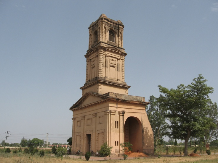 This tower was once part of a cantonment church at Karnal, Haryana, north India. Frequent outbreak of disease led to the army shifting base elsewhere and they dismantled the church, brick by brick, leaving the tower in place. Not far from the tower is a graveyard which includes the grave of Gen Anson, who died here in 1857, while on the march to Delhi to quell the Mutiny.