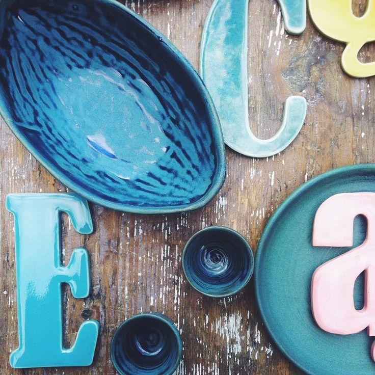 #pottery #ceramikazlanckorony #ceramika #handmade #tableware #tablewares #lanckorona #ceramics #blue #typography #petrolblue #green #colors #inspiration