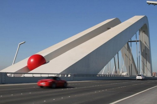Big Red Ball ProjectBall Projects, Street Art, Abudhabi, Abu Dhabi, Red Ball, Bridges, Kurt Perschke, Redbal Projects, Art Projects