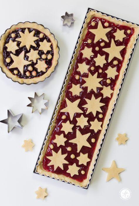 Linzer Tarte mit zartem Mandelteig und Johannisbeergelee, Rezept für Linzer Torte zu Weihnachten