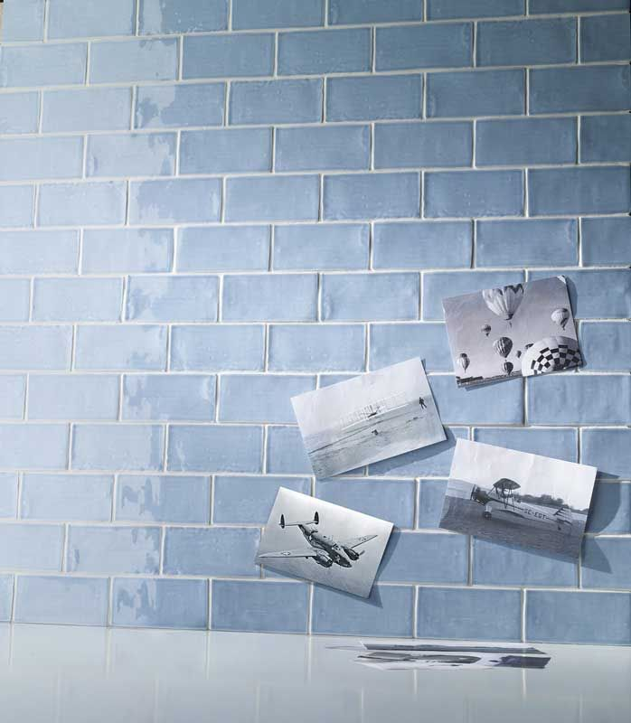 No 1619 Subtle blue wall tiles in traditional finish