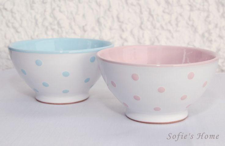 Keramik Schale Müsli, Suppe  rosa / blaue Punkte  von Sofie's Home Keramik auf DaWanda.com