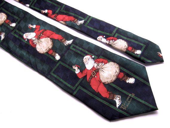 Hallmark Noël Tie, cravate de soie de Norman Rockwell, Santa cravate, cravate verte bleue, père Noël Tie, liens Vintage, cravate fantaisie, pour lui