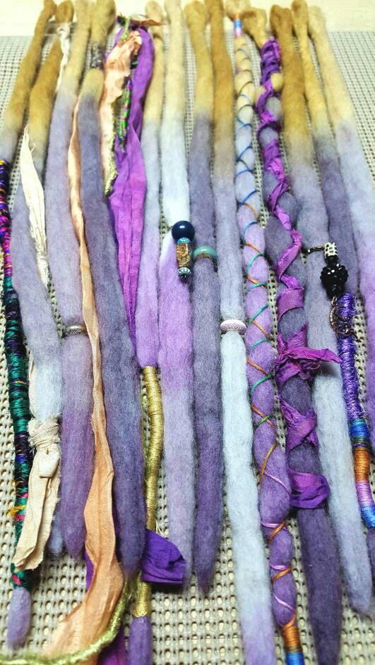 Laine Dreadlocks personnalisé laine redoute Hippie à la main redoute cheveux Extensions laine redoute Ombre cheveux accessoires ensemble de 14