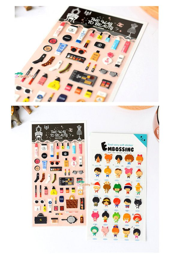 Kawaii Makeup Puffy Sticker - Scrapbooking, korean stickers, kawaii diary stickers, planner stickers, sunglasses, shades, lipstick