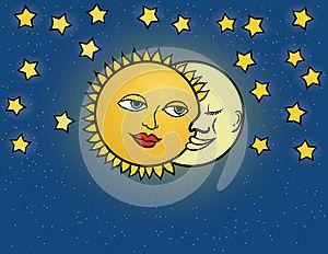 Mesiac a slnko, dve romantické kreslené postavičky objímať.